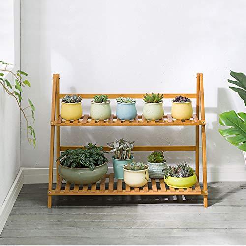 Support à Plante Pliante à 2 Niveaux PréSentoir en Pot De Fleur en Bambou éChelle De Jardin Jardinier/PréSentoir à éChelle en Bois