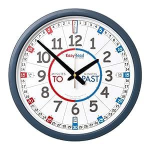 Apprendre à lire l'heure en anglais. Horloge murale « EasyRead Time Teacher Classroom ». Système d'enseignement en 3 étapes d'une grande simplicité avec cadran de 35 cm. Idéal pour les étudiants en langues.