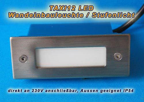 Juego de 10–LED empotrable LED Color Blanco 230V, IP54, apto para exterior, para escaleras, peldaños Luz