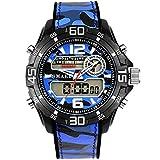 Blisfille Herren Uhren Wasserdicht Wasserdicht Militärisch Herrenuhr Tarnung Multifunktional Blau Outdoor Sportuhr Armbanduhr Automatikuhr