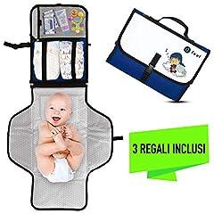 Idea Regalo - Fasciatoio Portatile Pieghevole - UFEEL - Idea Regalo Neonato - Kit per Cambio Pannolini - Borsa Fasciatoio da Viaggio per Bambini - Cambia il Pannolino Ovunque - Materassino Totalmente Imbottito