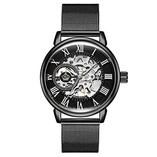 Herrenuhren Hohl Zahnrad Römische Zahlenskala Mechanische Armbanduhren für Herren Edelstahl Mesh Band Mode, Schwarz