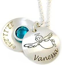 Taufkette mit Wunschgravur Schutzengel Medaillon Echt Silber Namenskette Gravur