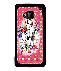 Fuson Gilrs with Pattern Back Case Cover for HTC ONE M7 - D4084