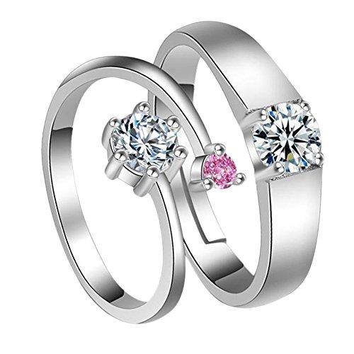 Impression 2pcs anelli anelli di coppia anello di diamante di moda anello di vetro girl accessori della gioielli festa di san valentino regali di matrimonio anello aperto