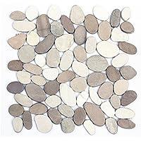 K-554 Kieselstein Mosaik-Fliesen Weiß + Tan geschnitten Fliesen Lager Verkauf Herne NRW
