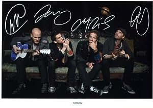 Coldplay Autographe Signé 21cm x 29.7cm affiche de photo