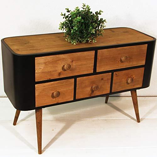 nxtbuy Schubladenschrank aus Holz mit Eisen in Schwarz/Natur 81,5 × 31,5 × 52,5 cm - Vintage Kommodenschrank auf 4 Beinen mit 5 Schubladen - Sideboard aus Echtholz - Eisen Sideboard