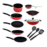 #8: KUMAKA Premium Quality 2.6mm Thickness 12 pcs Non-stick Cookware Set with Lid and spoons Cookware Set