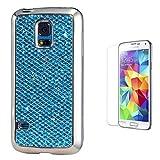 Pheant® [2in 1] Samsung Galaxy S5 Mini Schutzhülle Glitzer mit Panzerglas(9H Härtegrad,Ultra-klar),Silikon Hülle Glänzend Pailletten Design in Blau (Das glitzer Rückseite + Galvanotechnik Stoßrahmen)