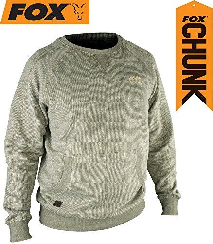 Fox Chunk Crew Sweatshirt Olive Marl Angelpullover, Pullover für Angler, Angelpulli, Angelbekleidung, Karpfenangeln, Größe:XL