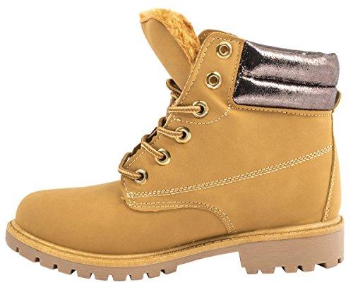 Elara Damen Worker Boots | Bequeme Warm Gefütterte Schnürrer | Outdoor Stiefeletten Camel/Gun