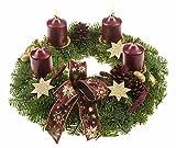 Echter Adventskranz Lichterzauber, 30 cm im Duchmesser, mit dunkelroten Kerzen