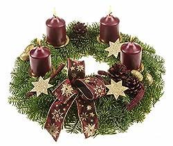Dominik Blumen Und Pflanzen, Adventskranz Lichterzauber, 30 Cm Im Duchmesser, Mit Dunkelroten Kerzen