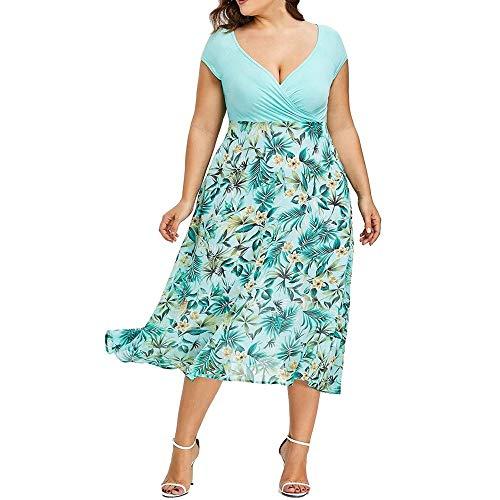 Go First Frauen V-Ausschnitt Ärmellos Sommer Symmetrisch Patchwork Floral Maxi Kleider Elegant Kleid A Line Flügelärmeln V-Ausschnitt (Color : Grün, Size : X-Large) -