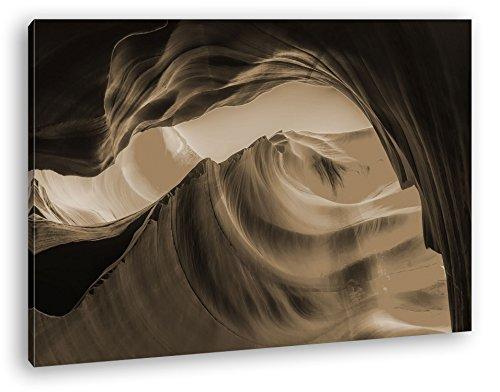 Gesteinsformationen in Arizona Format: 100x70 Effekt: Sepia als Leinwand, Motiv fertig gerahmt auf Echtholzrahmen, Hochwertiger Digitaldruck mit Rahmen, Kein Poster oder Plakat (New Jersey Felsen)