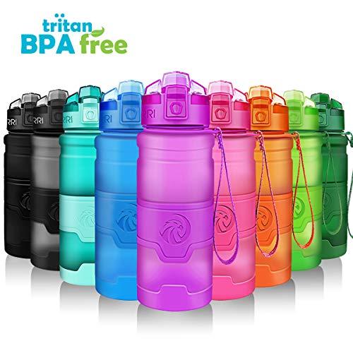 ZORRI Sport Wasserflasche Trinkflasche Bpa Frei Tritan Schule Sportflasche (400ml-14oz, Lila)
