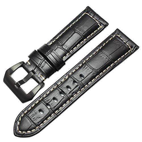 Echtes Leder uhrenarmbänder männer Dicke uhrenarmband Armband 22mm 24mm braun schwarz armbanduhren gürtelschnalle für panerai schwarz schwarz Schnalle, 22mm (Leder Panerai Armbanduhr)