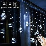 BLOOMWIN USB Lichtervorhang 3x0,65M 120LEDs Kugel Lichterkette Kaltweiß Weihnachtsbeleuchtung Stimmungslichter innen für Fenster Weihnachten Party Feiertage Fensterdeko Dekobeleuchtung