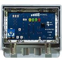 Amplificatore Schermato con Misuratore di segnale, 1 ing. log +30 dB regolabile - connettori F - LTE - Segnale Indicatore
