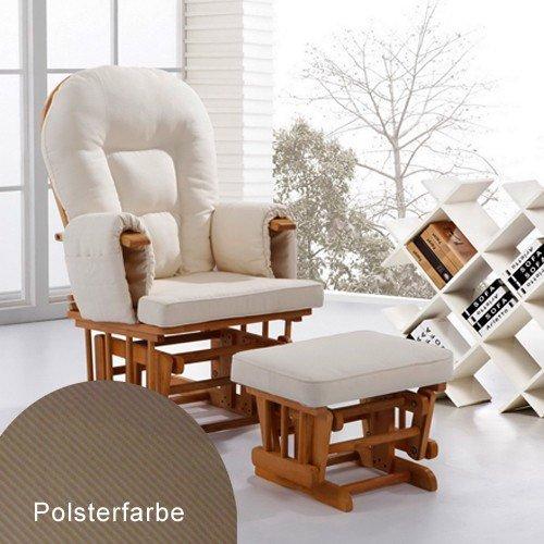 Stillstuhl Schaukelstuhl Babystuhl Glider Naturfarben cremefarbene Polster sessel (Baby-glider Mit Hocker)