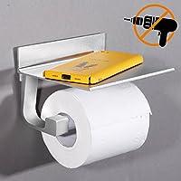 Rabbitgoo Porta rollos Papel Higiénico Adhesivo Portarrollos de aluminio espacio con el móvil de perforación inoxidable Soporte de papel para el baño de cocina Hotel Estante de almacenamiento - Matte - plata