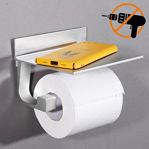 Toilettenpapierhalter ohne Bohren Klopapierhalter selbstklebend WC Papierhalter Aluminium rostfrei Toilettenpapierrollenhalter mit Ablage für Handy (Papierhalter Bad)