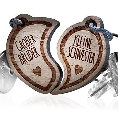 Schlüsselanhänger graviert: Großer Bruder - Kleine Schwester