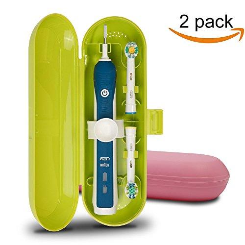 Cepillo de dientes eléctrico de plástico, funda de viaje para Oral-B Pro Series, 2 paquetes (verde y rosa)