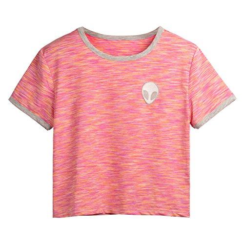 Mangotree Damen 3D Druck Aliens Kurzarm Hemd T-Stücke Lose Oberteile Ernte-Top T-Shirt Rosa