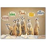 A4 XXL Dankeskarte ERDMÄNNCHEN mit Umschlag - edle Klappkarte geeignet für alle Anlässe wie Geburtstag Hochzeit Jubiläum Danke Karte von BREITENWERK