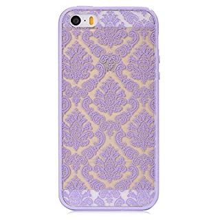 Acefast INC Damask Pattern Rubber with Protector Hard Case Cover for Apple Iphone 5 5s (Purple)
