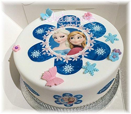 tz aus Zuckerguss und Cupcake-Verzierungen, Motiv: Die Eiskönigin, Anna und Elsa, blumenförmig, blau, ungschnitten ()