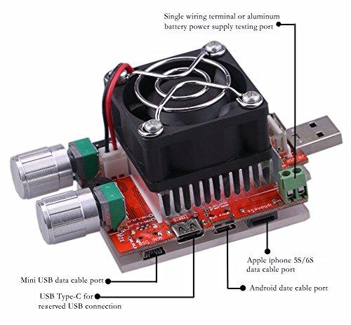 DC 3-21 V 3A 35W USB Load Tester Board einstellbaren Konstantstrom Laden Entladewiderstand mit Ventilator für Spannung aktuelle Prüfung entladen Altern (21v Usb)