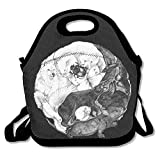 Ntpclsuits Large Reusable Picnic School Food Lunch Bags Case Box Handy Shoulder Bag Portable for Yin Yang Animals