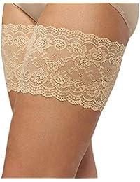 Calcetines de encaje, silicona de doble tira antideslizante, calcetines antifricción para los muslos,