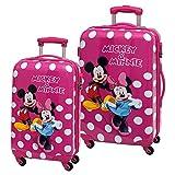 Disney Minnie y Mickey Lunares Set de Maletas Rígidas, Color Rosa, 86 Litros