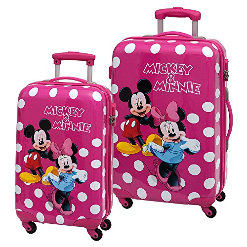 Disney Minnie y Mickey Lunares Set de Maletas Rígidas, Color Rosa, 86 litros