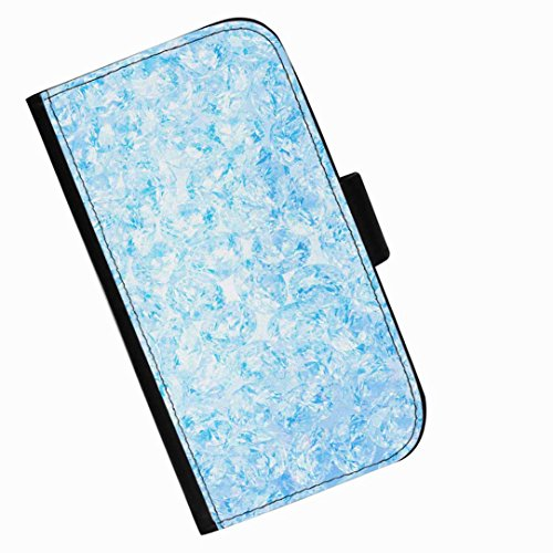 Hairyworm - Lots of jewels in shades of blue LG G3 S (D722, D725, D728, D722K, D724) leather side flip wallet phone case, cover with card slots, money slot and magnetic clasp to close. LG3 S photo phone case