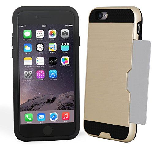 iPhone Hülle GOLD mit Kartenfach hochwertige dünne iPhone 6/6S Schutzhülle mit Fach gold