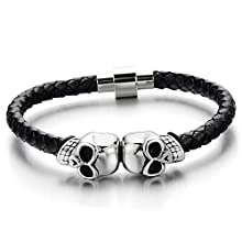 COOLSTEELANDBEYOND Mens Stainless Steel Skull Black Genuine Leather Bracelet Wristband Bangle with Magnetic Clasp