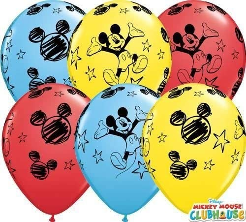 Mickey Mouse no mensaje 11 cm Qualatex globos de látex x 5