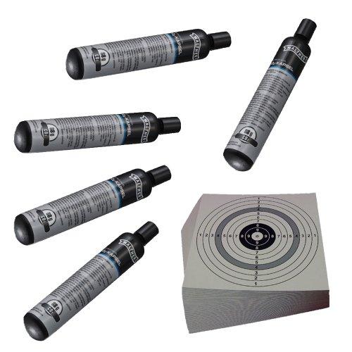 ShoXx.® Set: 5 WALTHER Co2 Kapseln 88 Gramm für Gotcha / Softair / Paintball + 10 ShoXx.® shoot-club Zielscheiben 14x14 cm mit zusätzlichen grauen Ring und 250 g/m²