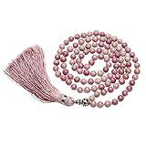 QGEM pietra preziosa naturale tibetano buddista OM mani Padme Hum preghiera perline polso Mala bracciale nappa collana e Rame, colore: Rhodochrosite, cod. 02-FPUK-000J
