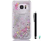 Coque Sable mouvants pour Samsung Galaxy S7 Edge G9350 - Yihya 3D Transparente Liquide Étoile Paillette Brillante Plastique Arrière Protecteur Rigide Etui Housse de Protection Case Cover,Argent(Silver)