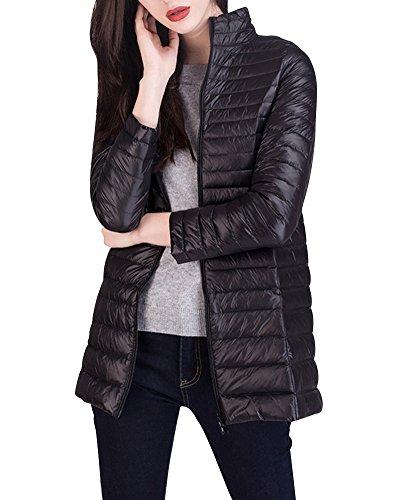 Damen Daunenjacke Lang Packbar Stehkragen Ultraleicht Übergangsjacke Warm Winddicht Schwarz M