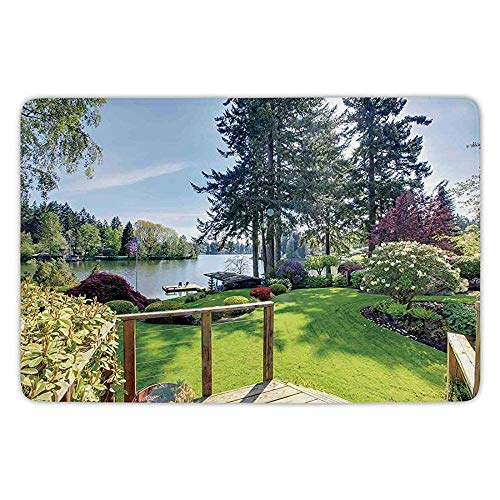 ewtretr Farm House Decor Sunny Spring Season Day Pier View in Countryside Rural Cottage Nature Image Indoor Outdoor Mat Rug Soft Comfort Flannel -