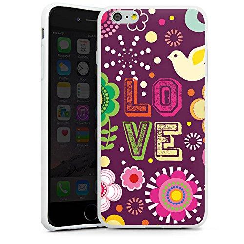 Apple iPhone X Silikon Hülle Case Schutzhülle Love 60s Hippie Bunt Silikon Case weiß