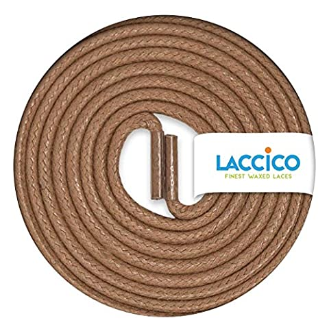 LIGHT BROWN Round Waxed Shoe Laces Diameter Ø 2.5 mm 45cm to 150cm (18in to 59in), Colour:Tan;Länge 483:29.5'' (75cm)