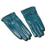 Butterme Womens Touchscreen Texting Driving Winter Warm Lammfell Leder Handschuhe Fahren im Freien Fleece Futter (Blauer See)